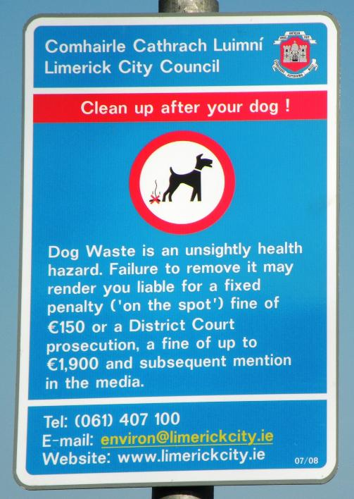 Photograph of the Newly Revised (July 2008) 'Clean Up After Your Dog Sign'